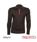 Bluza barbati Merinito cu fermoar scurt 280g 100% lana merinos