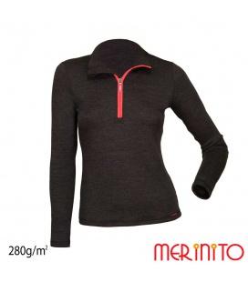 Bluza dama Merinito cu fermoar scurt 280g 100% lana merinos