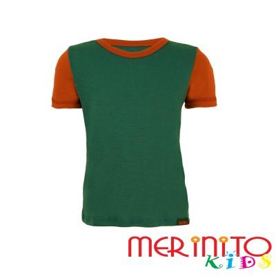Tricou copii merinos maneca scurta verde/portocaliu