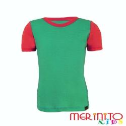 Merino wool tshirt  for kids - turquoise/pink