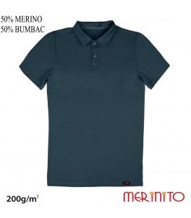 "Tricou barbatesc ""Polo Jersey"" 200g 50% merino 50% bumbac"