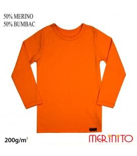 Bluza copii  200g/mp 50% merino 50% bumbac