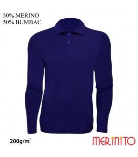 "Bluza barbateasca ""Polo Jersey"" 200g 50% merino 50% bumbac"