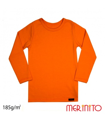 Tricou copii maneca lunga 100% merino 185 g/mp
