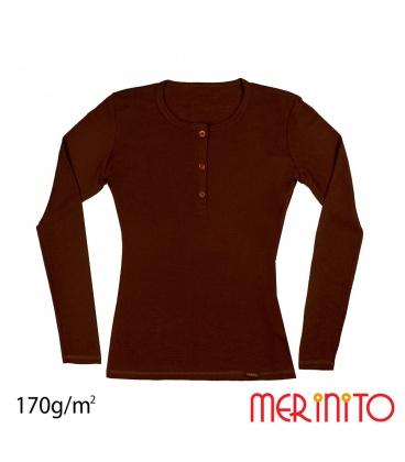 Tricou dama lana merinos maneca lunga  (nasturi scoica neagra)
