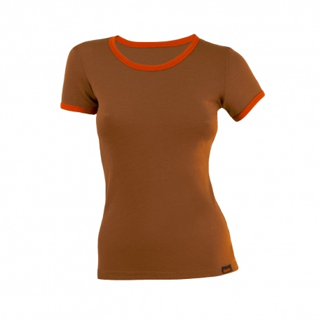 Tricou merino bej-portocaliu dama