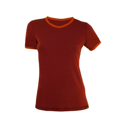 Tricou merino mov-portocaliu dama