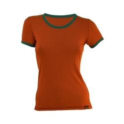 Tricou merino portocaliu-verde dama