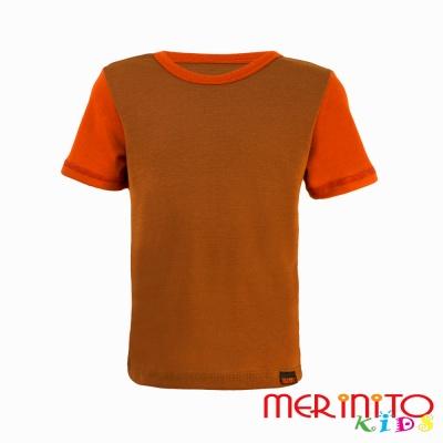Tricou copii merino maneca scurta - bej/portocaliu