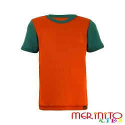 Merino wool tshirt short sleeve for kids - orange