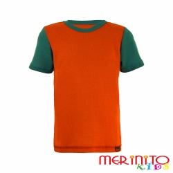 Tricou copii merino maneca scurta - portocaliu verde