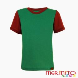 Tricou copii 100% merinos maneca scurta verde