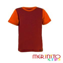 Tricou copii 100% merinos maneca scurta mov/portocaliu