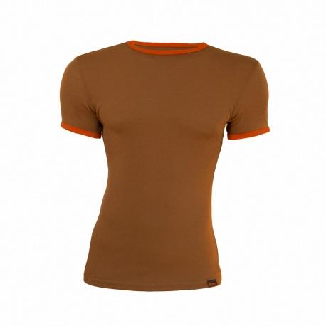 Tricou barbatesc bej-portocaliu 100% merinos
