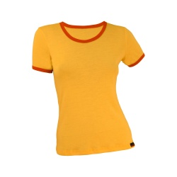 Tricou dama bicolor maneca scurta galben