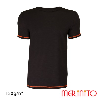 Tricou barbatesc bicolor 100% merino 150g/mp