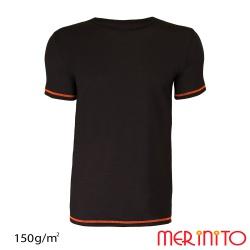 Tricou barbatesc portocaliu 100% merino 150g/mp