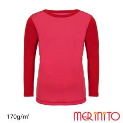 Tricou copii merino maneca lunga roz