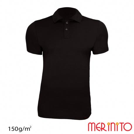 "Tricou barbatesc ""Polo Jersey Anthracite"" merino  150g"