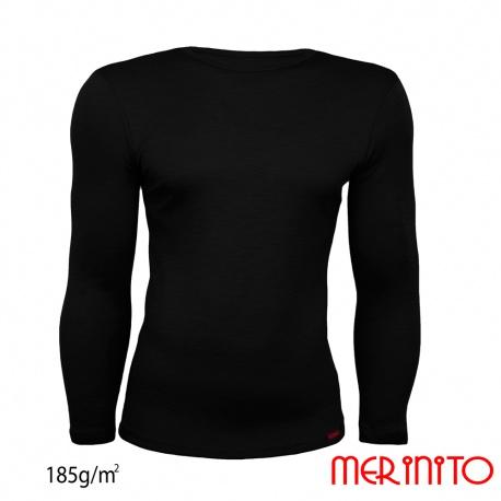 Bluza de corp lana merinos maneca lunga negru