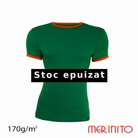 Tricou barbatesc verde-portocaliu 100% merinos
